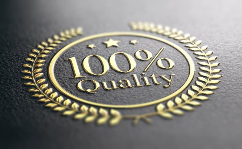 Guld- stämpel för högkvalitativ garanti, garanterat tillfredsställelsebegrepp royaltyfri illustrationer