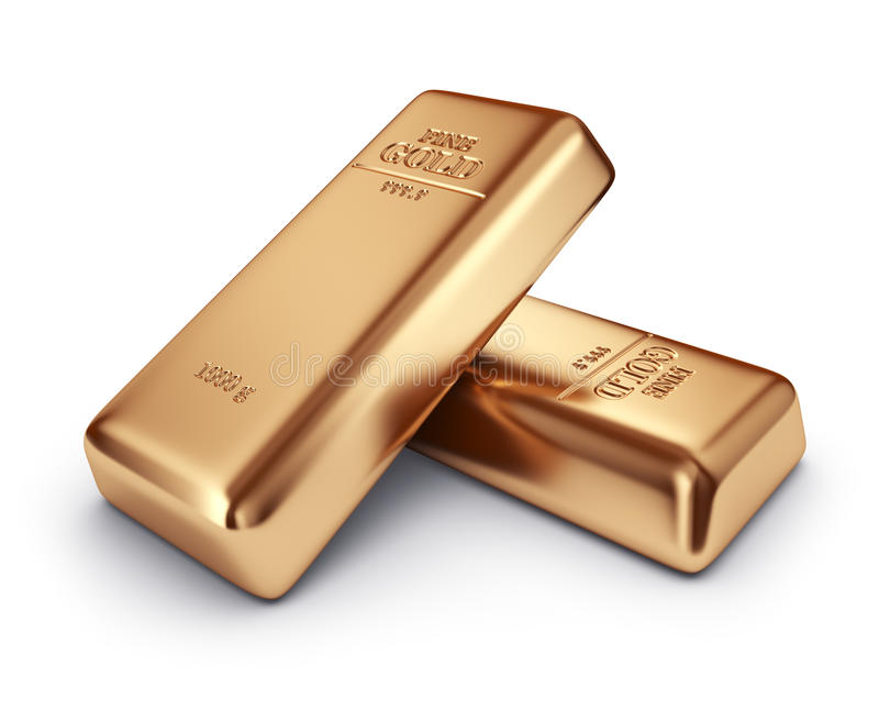 Guld- stänger. Begrepp av bankrörelsen. isolerad symbol 3D stock illustrationer