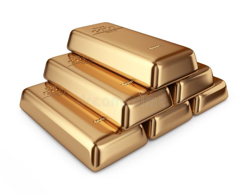 Guld- stänger. Begrepp av bankrörelsen. symbol 3D  vektor illustrationer
