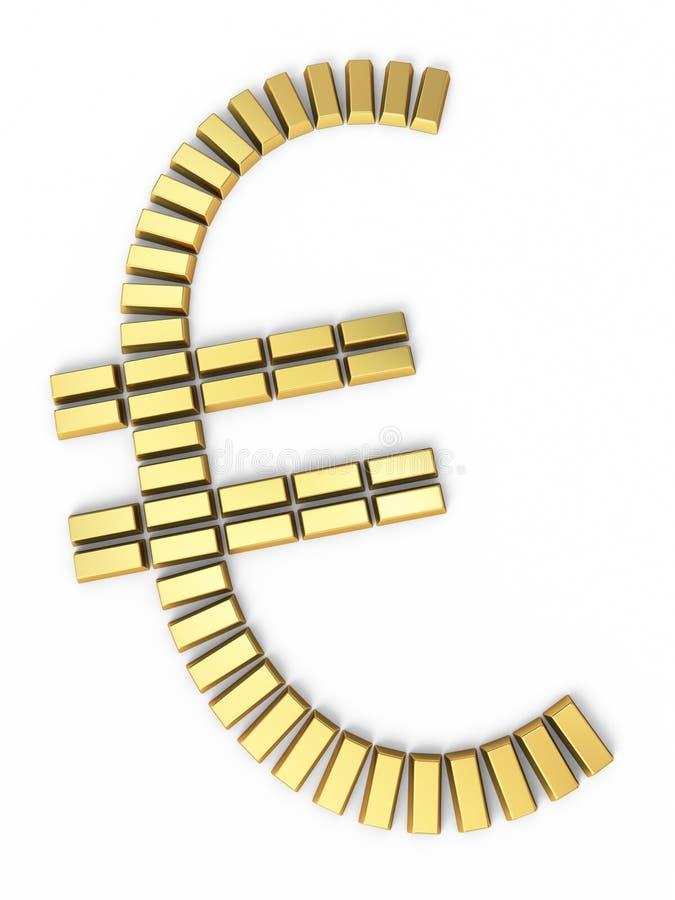 Guld- stänger för eurotecken stock illustrationer