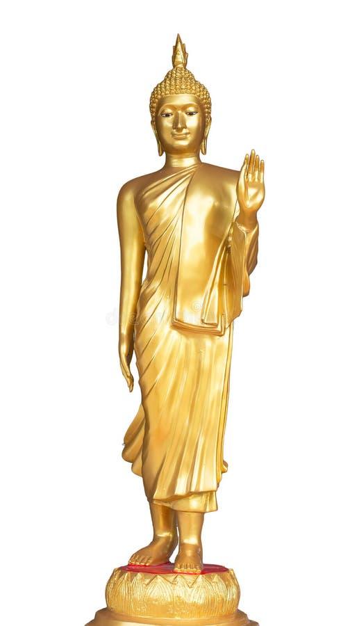 Guld- stående Buddhastaty, Thailand arkivbild