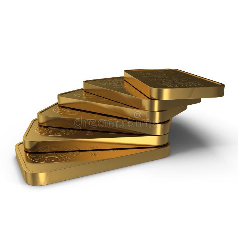 Guld- stång 100g som isoleras på vit illustration 3d vektor illustrationer