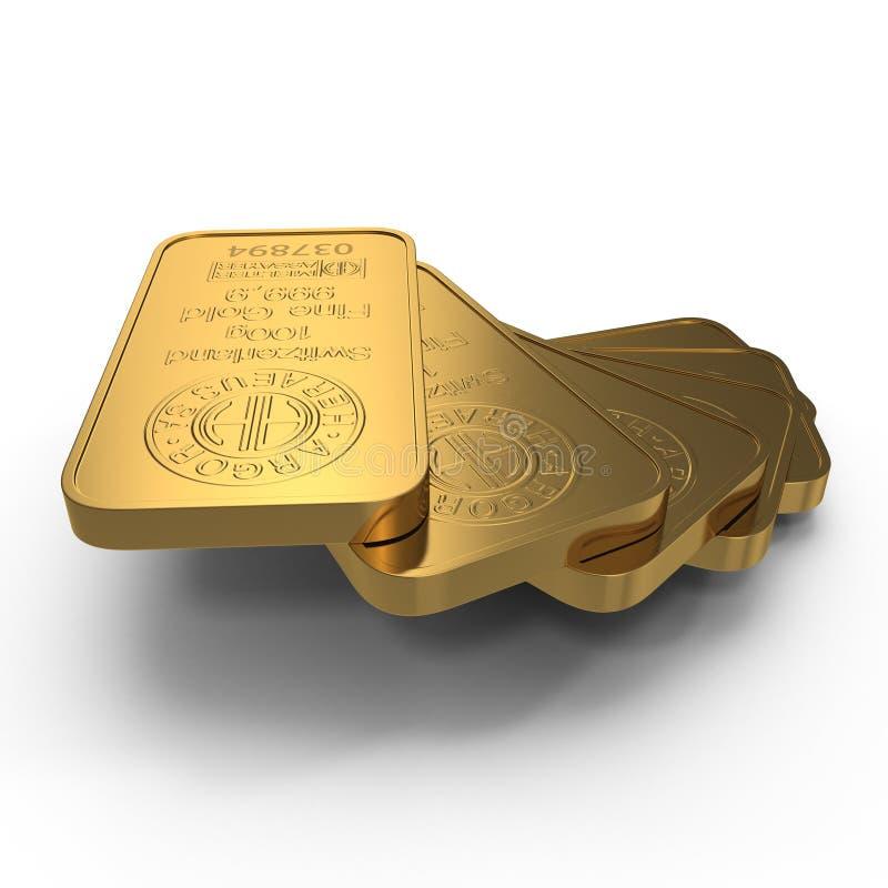 Guld- stång 100g som isoleras på vit illustration 3d royaltyfri illustrationer