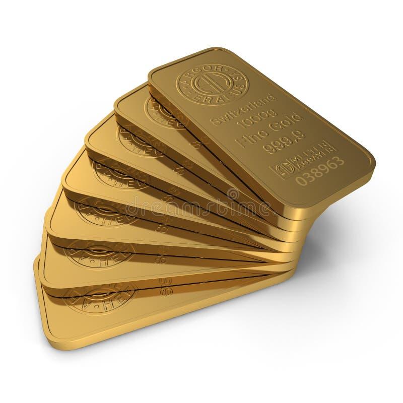Guld- stång 1000g som isoleras på vit illustration 3d stock illustrationer