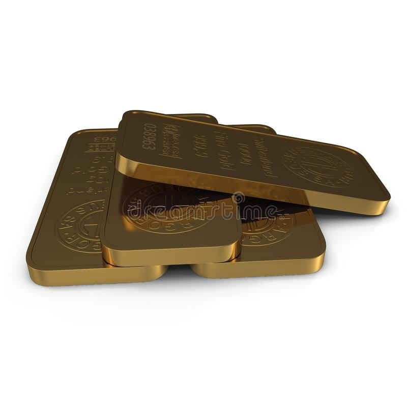 Guld- stång 1000g som isoleras på vit illustration 3d royaltyfri illustrationer