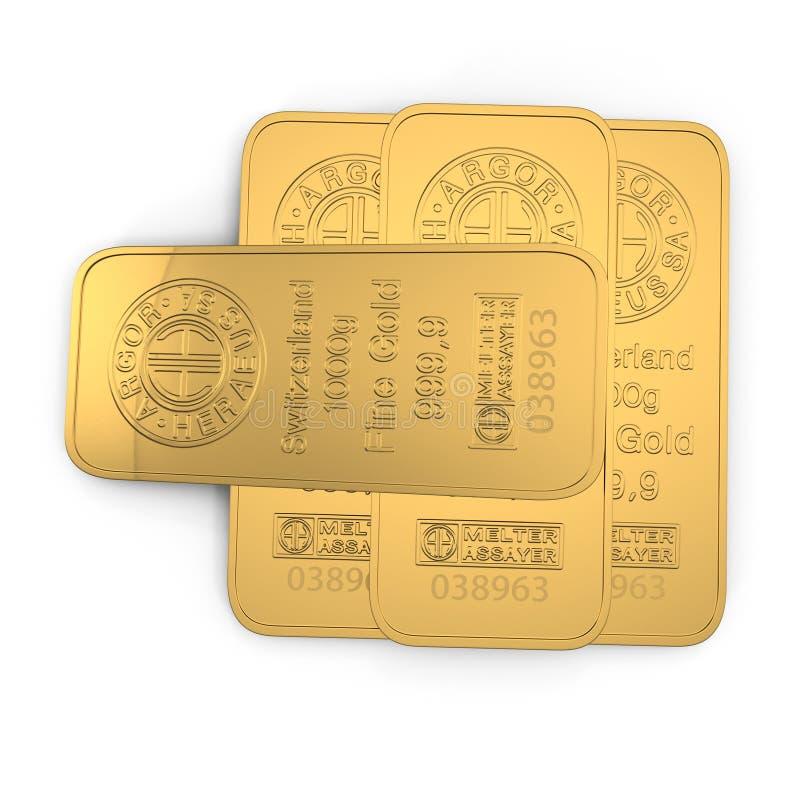 Guld- stång 1000g som isoleras på vit Top beskådar illustration 3d stock illustrationer