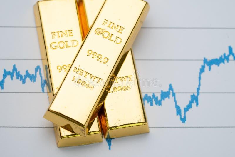 Guld- stång, guldtackabunt på stigande prisgraf som finansiell crisi royaltyfria foton