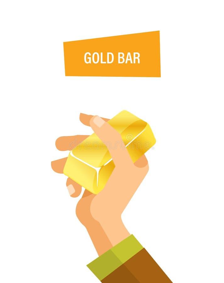 Guld- stång i hand Begrepp av affären, finans som handlar royaltyfri illustrationer