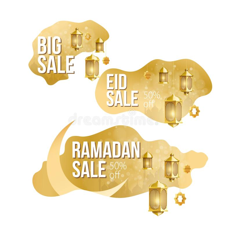 Guld- st?lle f?r ramadan kareembakgrund f?r textf?rs?ljningsbaner royaltyfria foton