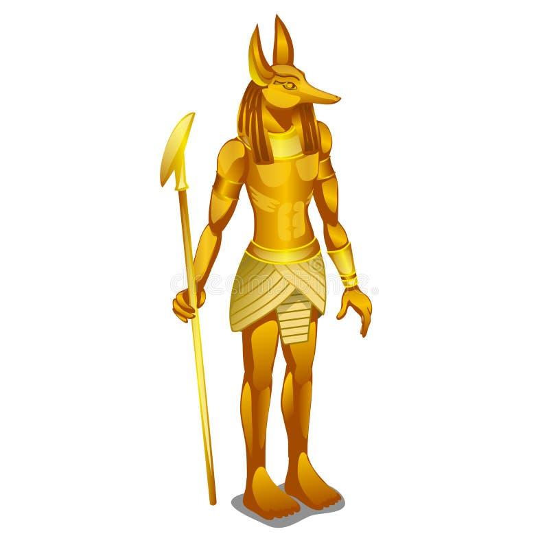 Guld- staty forntida Egypten som isoleras på vit bakgrund Illustration för vektortecknad filmnärbild vektor illustrationer