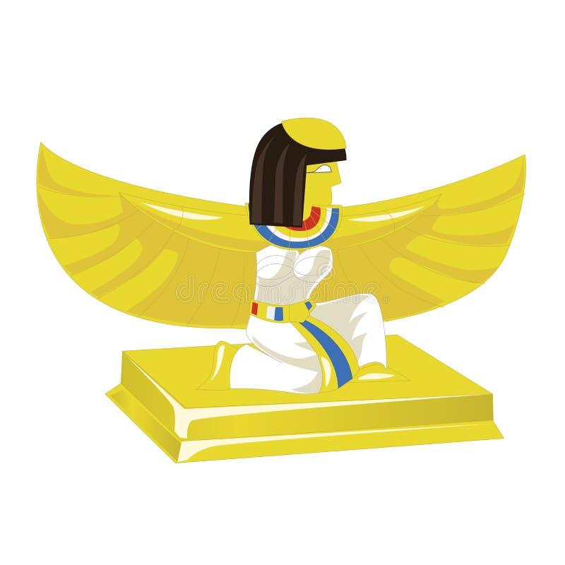 Guld- statyett för egyptisk farao som isoleras på vit bakgrund också vektor för coreldrawillustration royaltyfri illustrationer