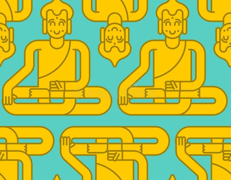 Guld- statymodell för Buddha Meditation- och insiktbackg vektor illustrationer