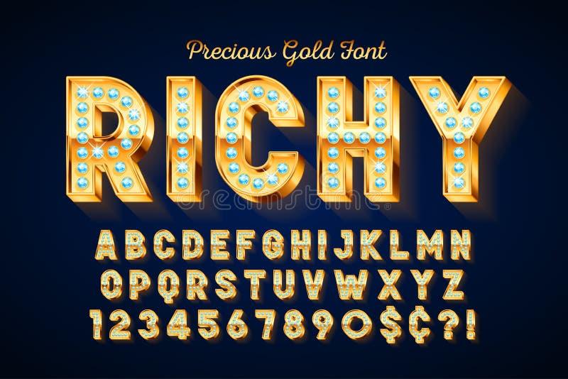 Guld- stilsort 3d med ädelstenar, guld- bokstäver och nummer royaltyfri illustrationer