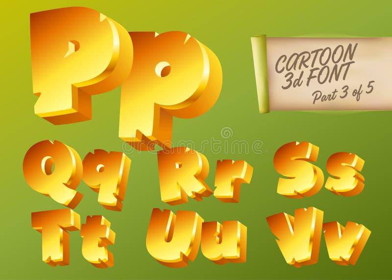 Guld- stilsort för vektor 3D i tecknad filmstil Komisk isometrisk typ royaltyfri illustrationer
