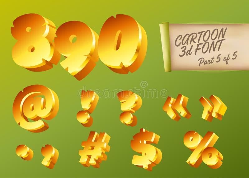 Guld- stilsort för vektor 3D i tecknad filmstil Komisk isometrisk typ stock illustrationer