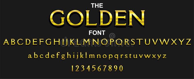 Guld- stilsort och alfabet med nummer Design f?r vektortypografibokstav vektor illustrationer