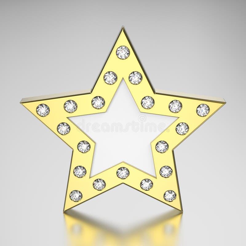 guld- stjärna för illustration 3D med diamanter stock illustrationer