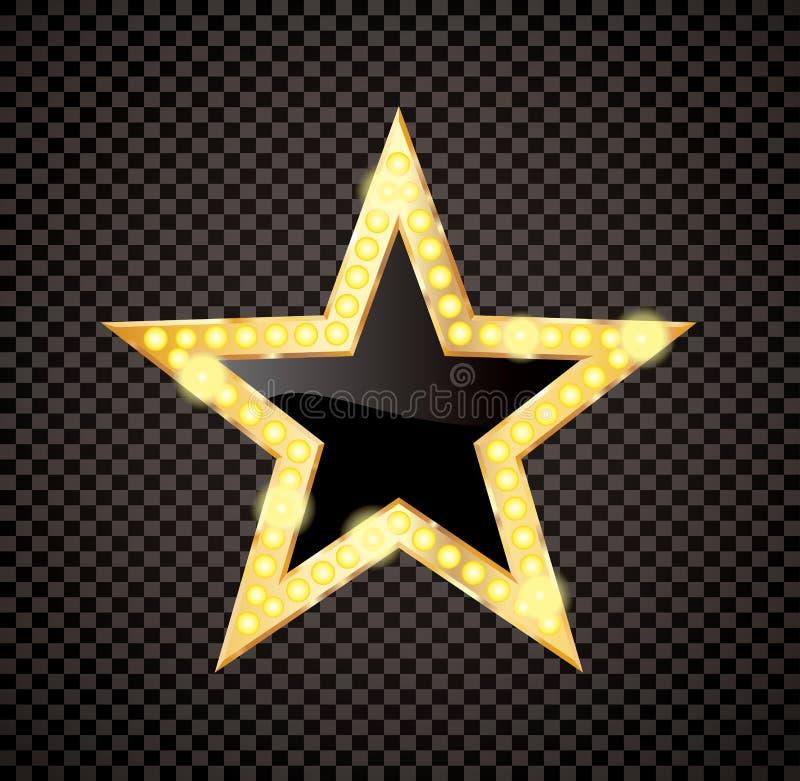 Guld- stjärna för svart kula vektor illustrationer