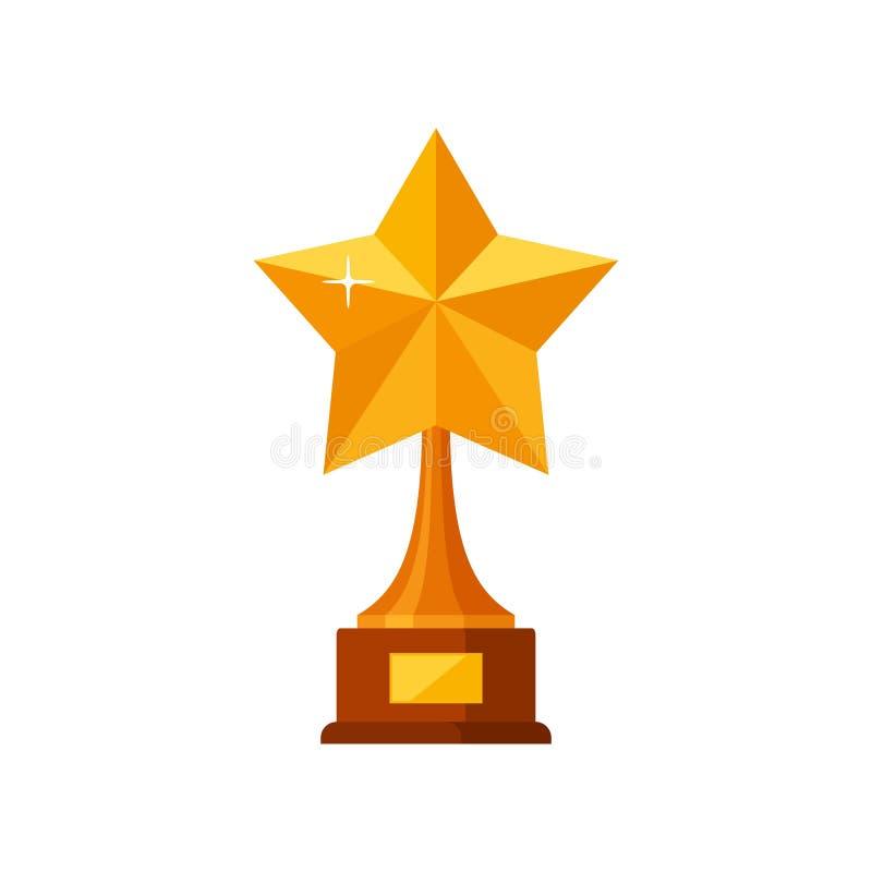 Guld- stjärna för trofévinnare med trägrunden som isoleras på vit bakgrund Symbol för guldprisutmärkelse royaltyfri illustrationer
