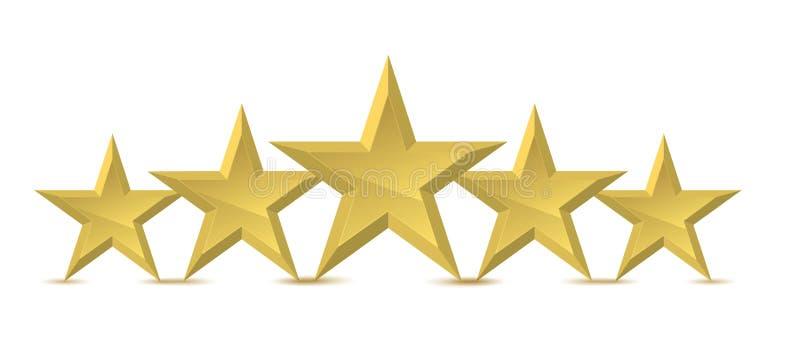 guld- stjärna fem stock illustrationer
