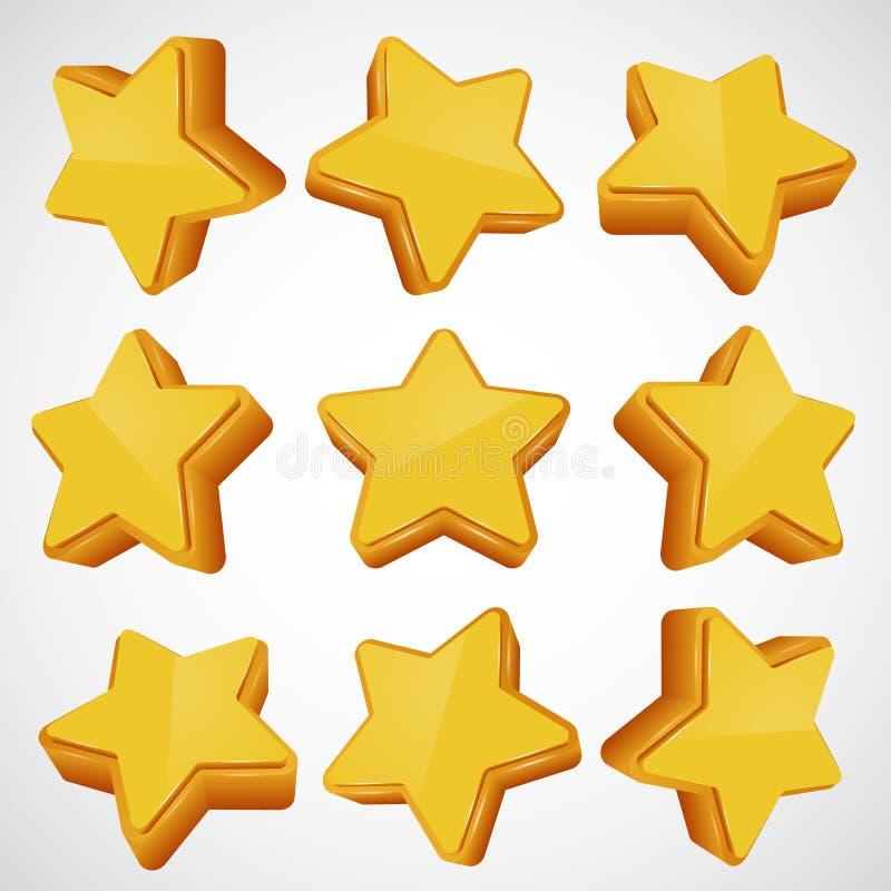 guld- stjärna Olika vinklar vektor illustrationer