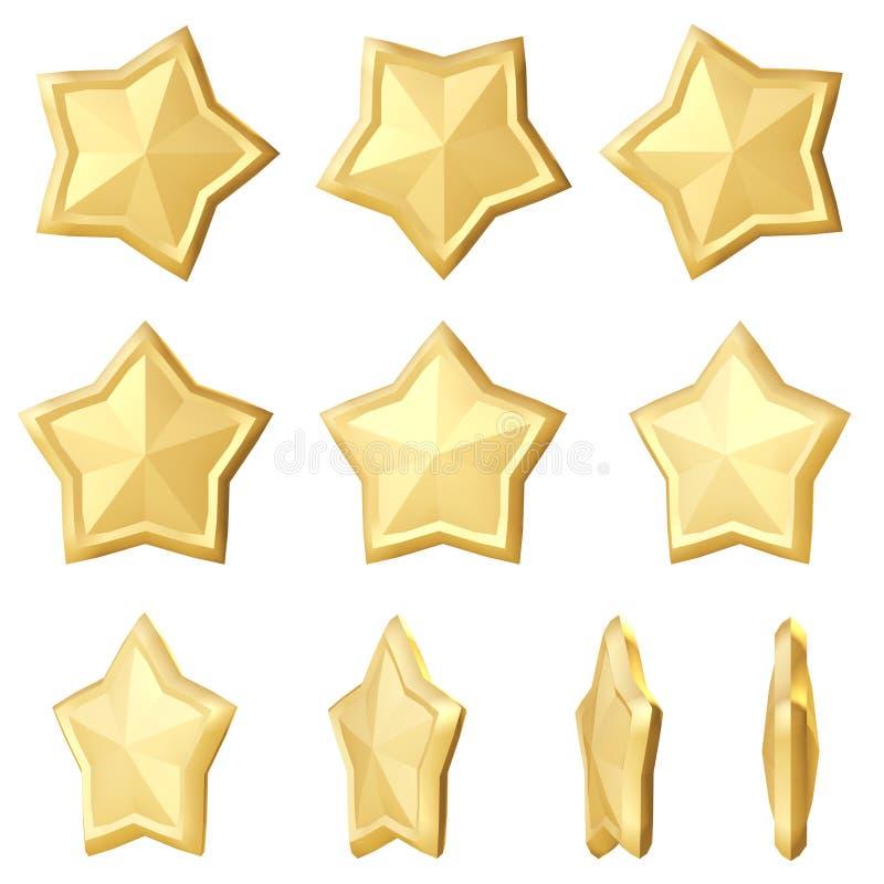 guld- stjärna Olika vinklar stock illustrationer