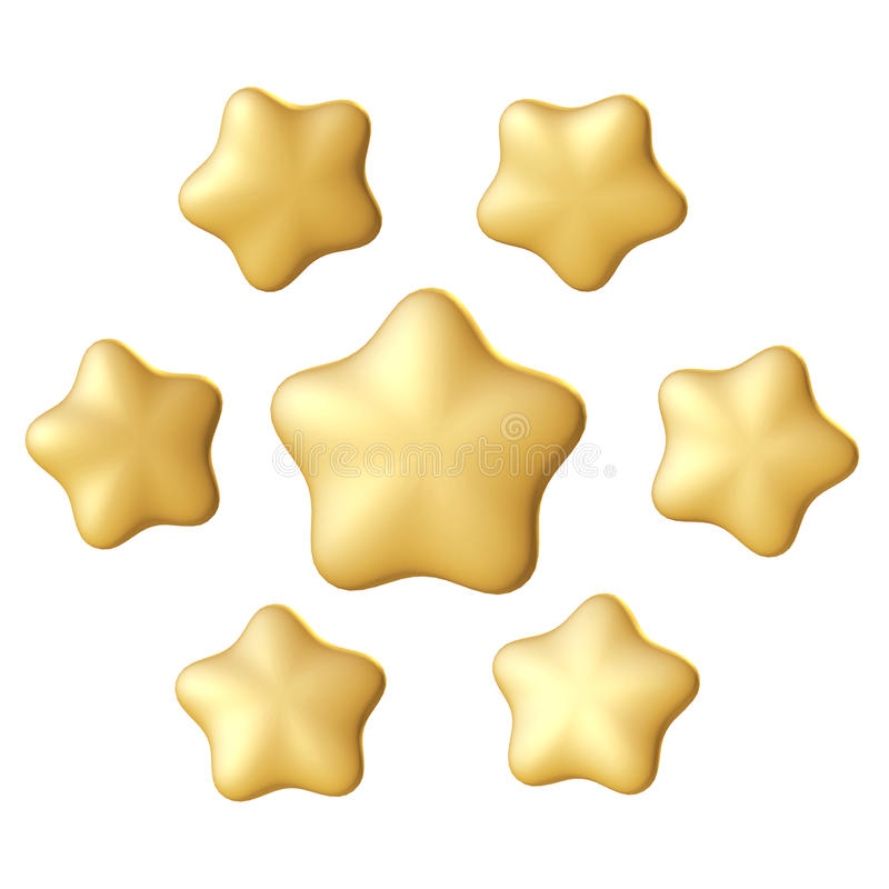 guld- stjärna Olika vinklar royaltyfri illustrationer