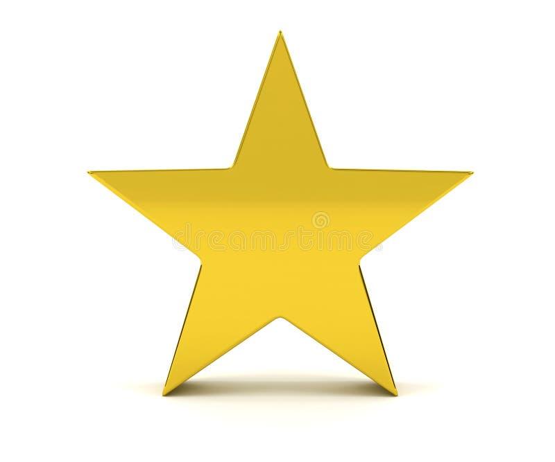 Guld- stjärna på vit bakgrund stock illustrationer