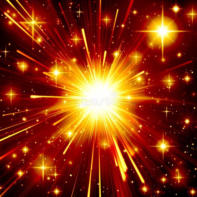 Guld- stjärnaexplosion, ljus ljus effekt, natt, svart som är gul, apelsin, design, strålglans som är flammande, strålar stock illustrationer