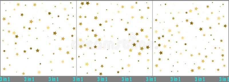 Guld- stjärnakonfettiberöm Enkel design för guld- folie Uppsättning stock illustrationer