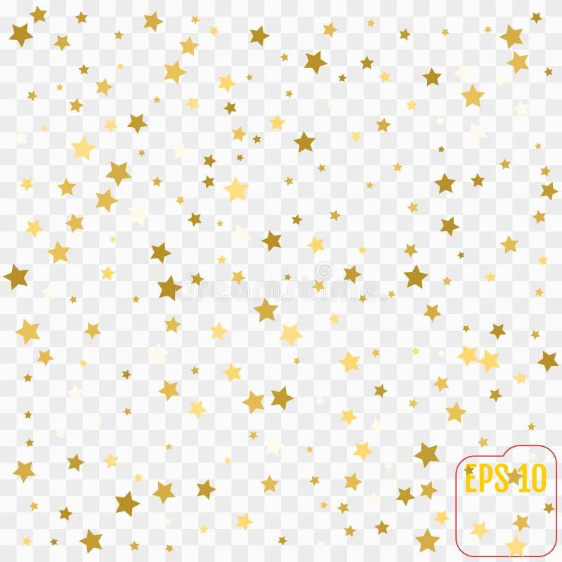 Guld- stjärnakonfettier regnar festlig feriebakgrund Vektorgolde vektor illustrationer