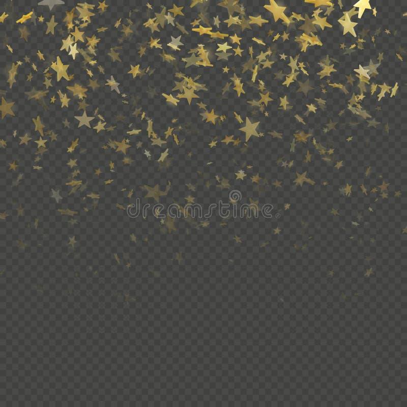 Guld- stjärnakonfettier regnar festlig modelleffekt Guld- volymstjärnor som faller ner isolerat på bakgrund Vektor för EPS 10 stock illustrationer