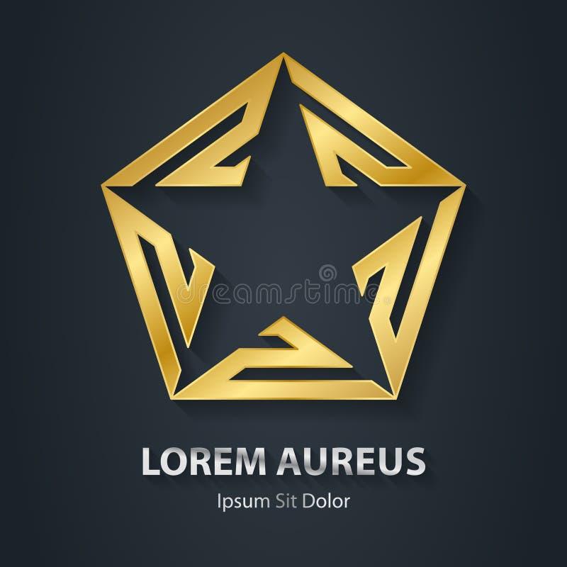 Guld- stjärnalogo Guld- symbol 3d för utmärkelse Metallisk logotypmall stock illustrationer