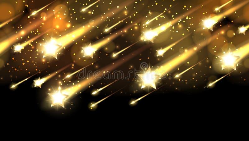 Guld- stjärnanedgångmodell Bakgrund för vektorn för ferieutmärkelsenatten med stjärnor regnar eller tilldela duschen vektor illustrationer
