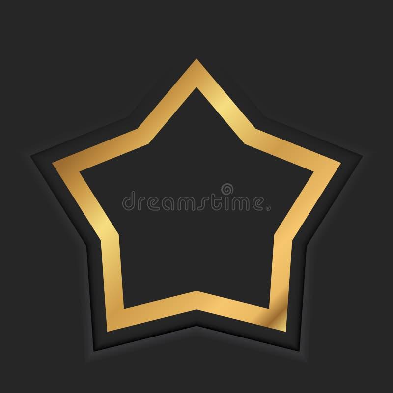 Guld- stjärnaram eller guld- lyxig gräns på svart stock illustrationer