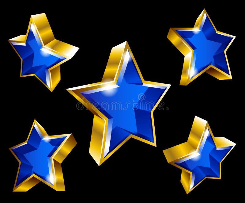 Guld- stjärnasymbol i stil 3D vektor illustrationer