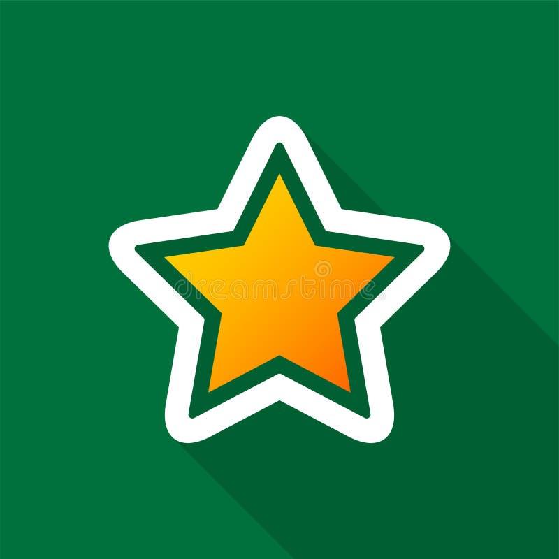 Guld- stjärnasymbol med lång skugga på grön bakgrund vektor illustrationer