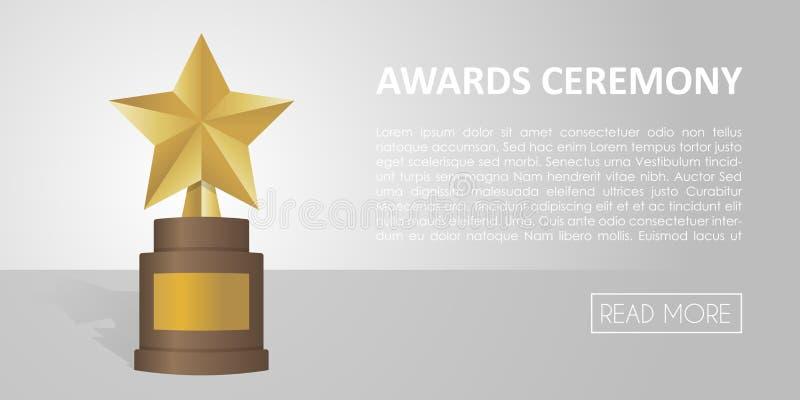 Guld- stjärnautmärkelse på brun grund Guld- trofébanerillustration stock illustrationer