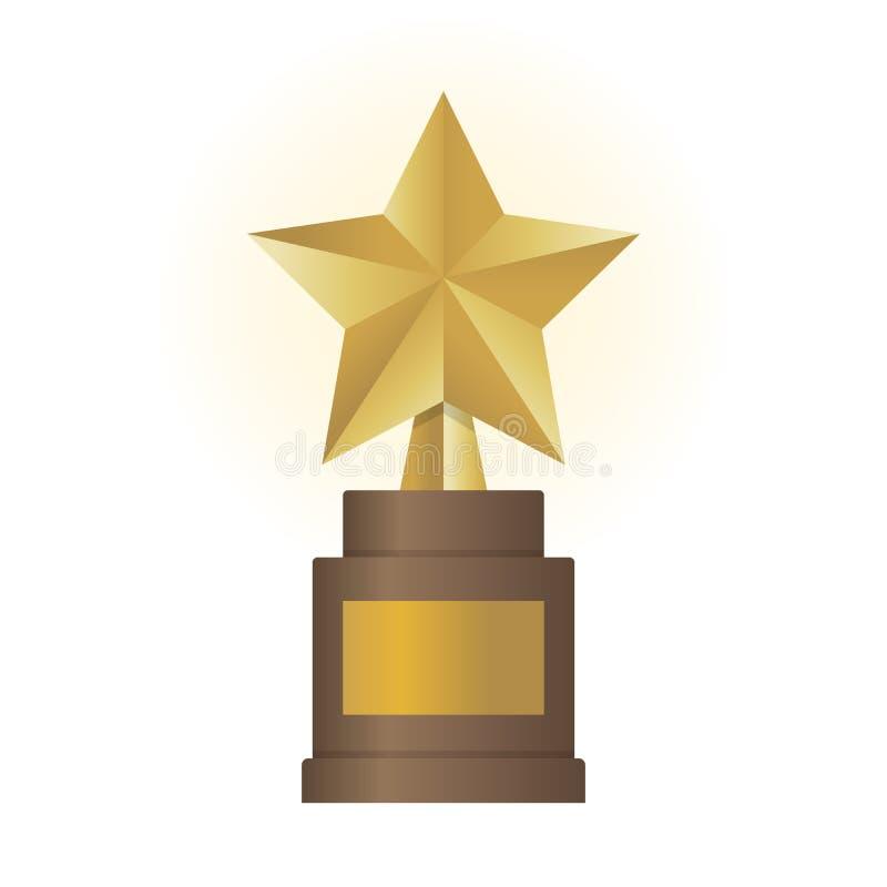 Guld- stjärnautmärkelse på brun grund Guld- troféillustration vektor illustrationer
