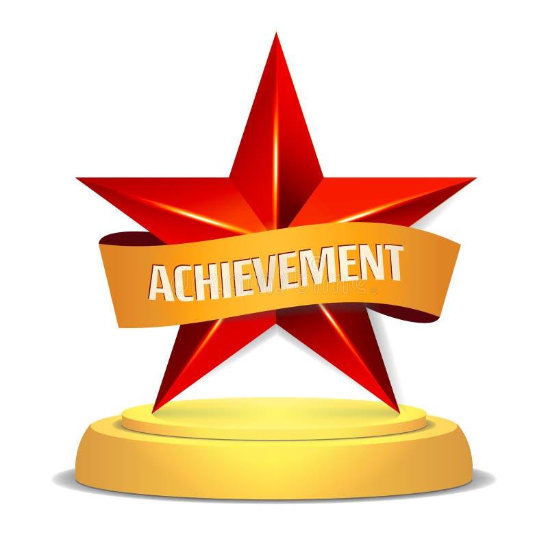 Guld- stjärnautmärkelse placera bandtext också vektor för coreldrawillustration Modern trofé, utmaningpris Härlig skinande etiket royaltyfri illustrationer