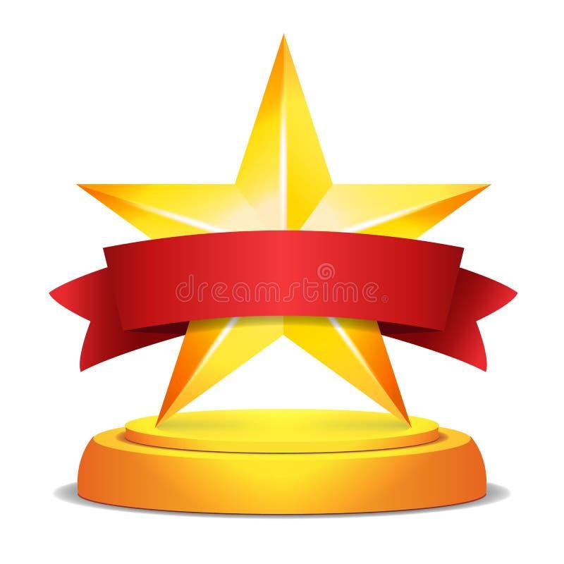 Guld- stjärnautmärkelse Rött band med stället för text också vektor för coreldrawillustration Modern trofé, utmaningpris Härligt  royaltyfri illustrationer