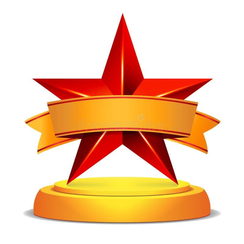 Guld- stjärnautmärkelse Skinande vektorillustration Modern trofé, utmaningpris Härlig etikettdesign isolerat royaltyfri illustrationer