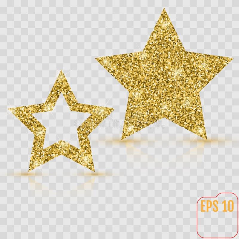 Guld- stjärnavektorbaner blänka guld Mall kort, vip, exc vektor illustrationer