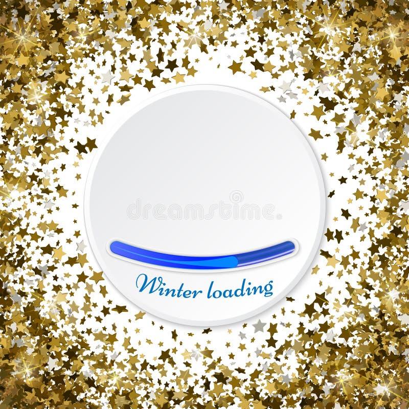 Guld- stjärnor blänker den runda ramen för konfettier att skina mousserar cirkeln vektor illustrationer