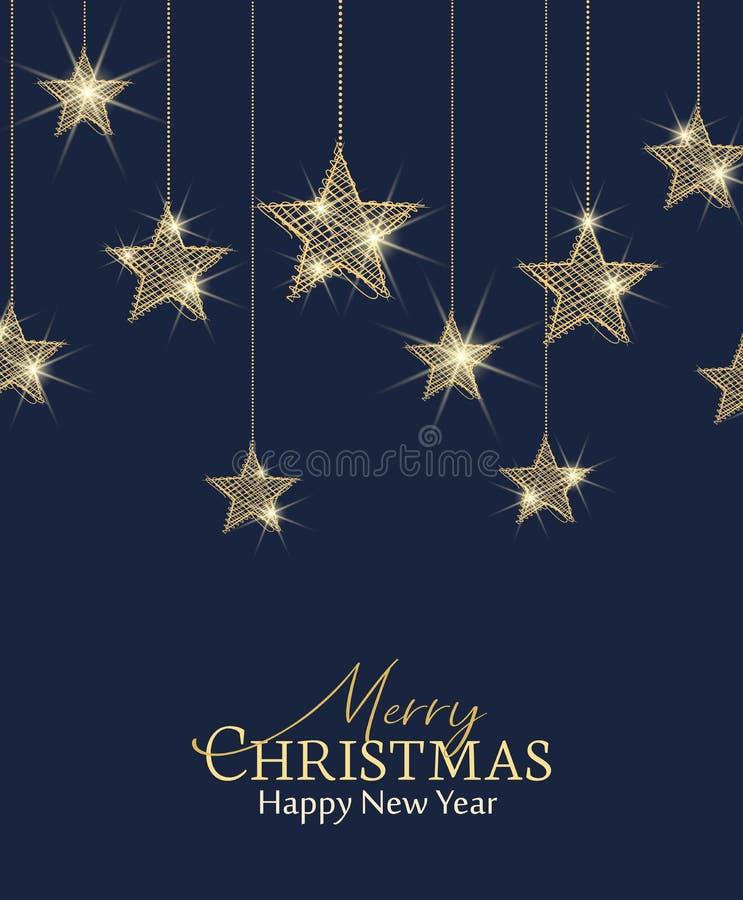 Guld- stjärnor för jul vektor illustrationer