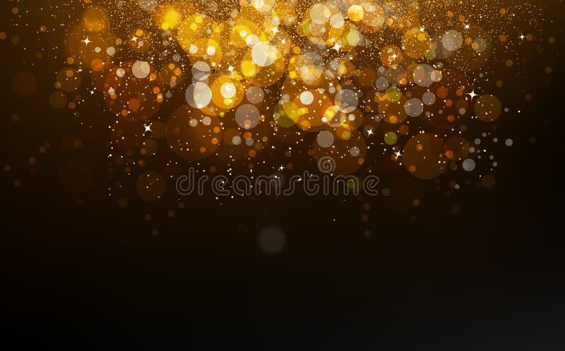 Guld- stjärnor fallande konfettier, damm, glödande partiklar sprider gli royaltyfri illustrationer