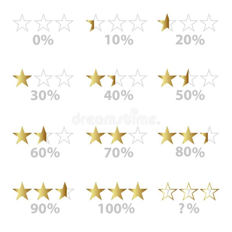 Guld- stjärnor och procentsats för att klassa och granskningar eps10 vektor illustrationer