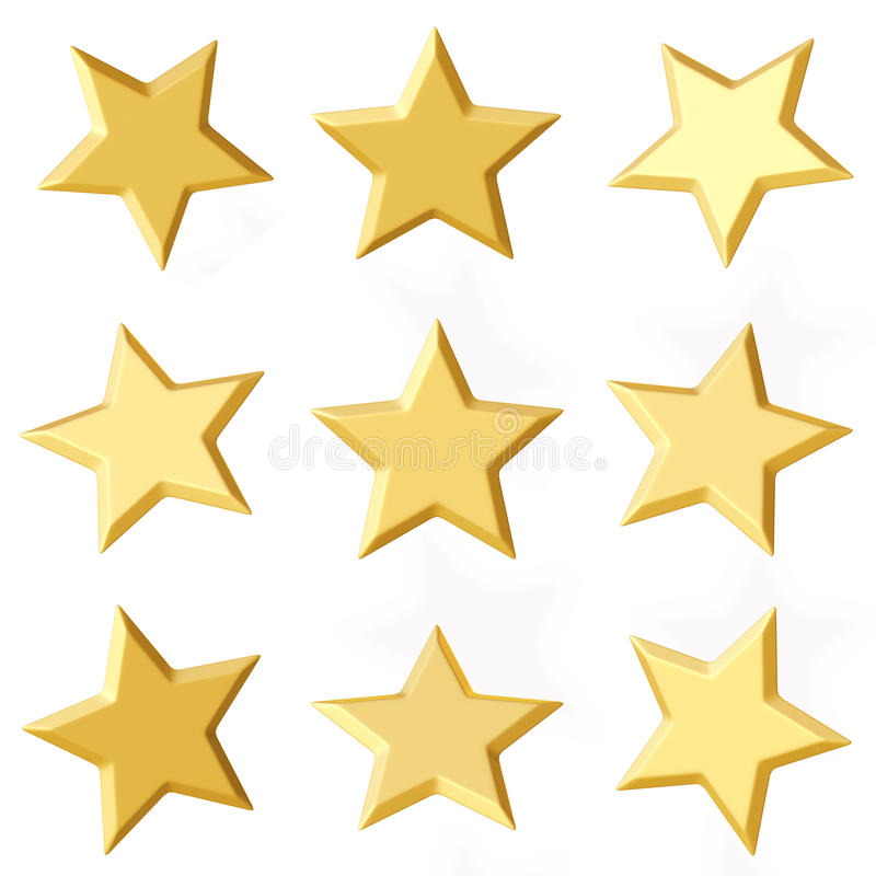 guld- stjärnor Olika vinklar stock illustrationer