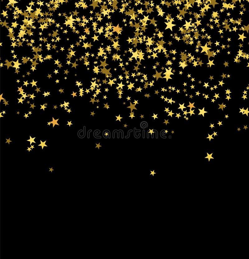 Guld- stjärnor som faller från himlen på svart bakgrund abstrakt bakgrund Blänka modellen för baner arkivbilder
