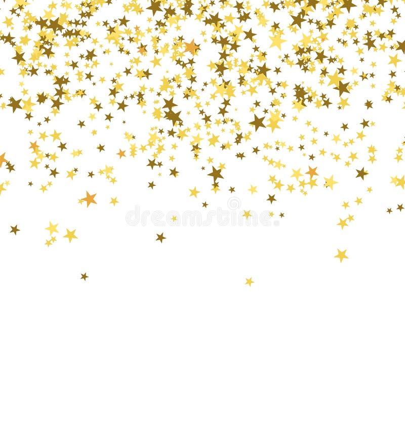 Guld- stjärnor som faller från himlen på vit bakgrund abstrakt bakgrund stock illustrationer